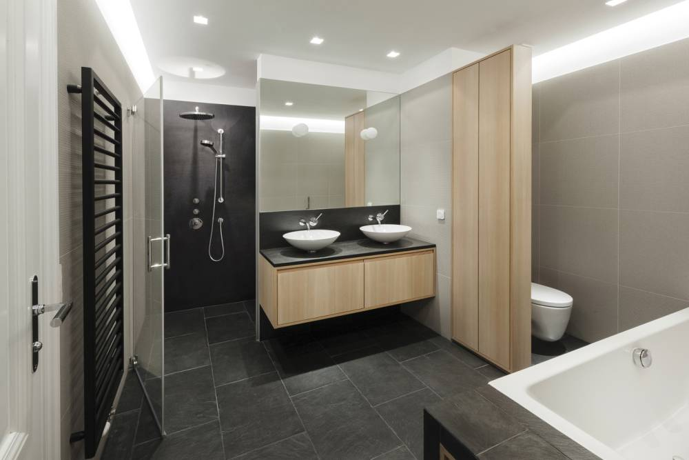 bathroom slate stone-bathroom larch wood-Japanese Asian modern bathroom design-bathroom planning Vienna-bathroom design Vienna