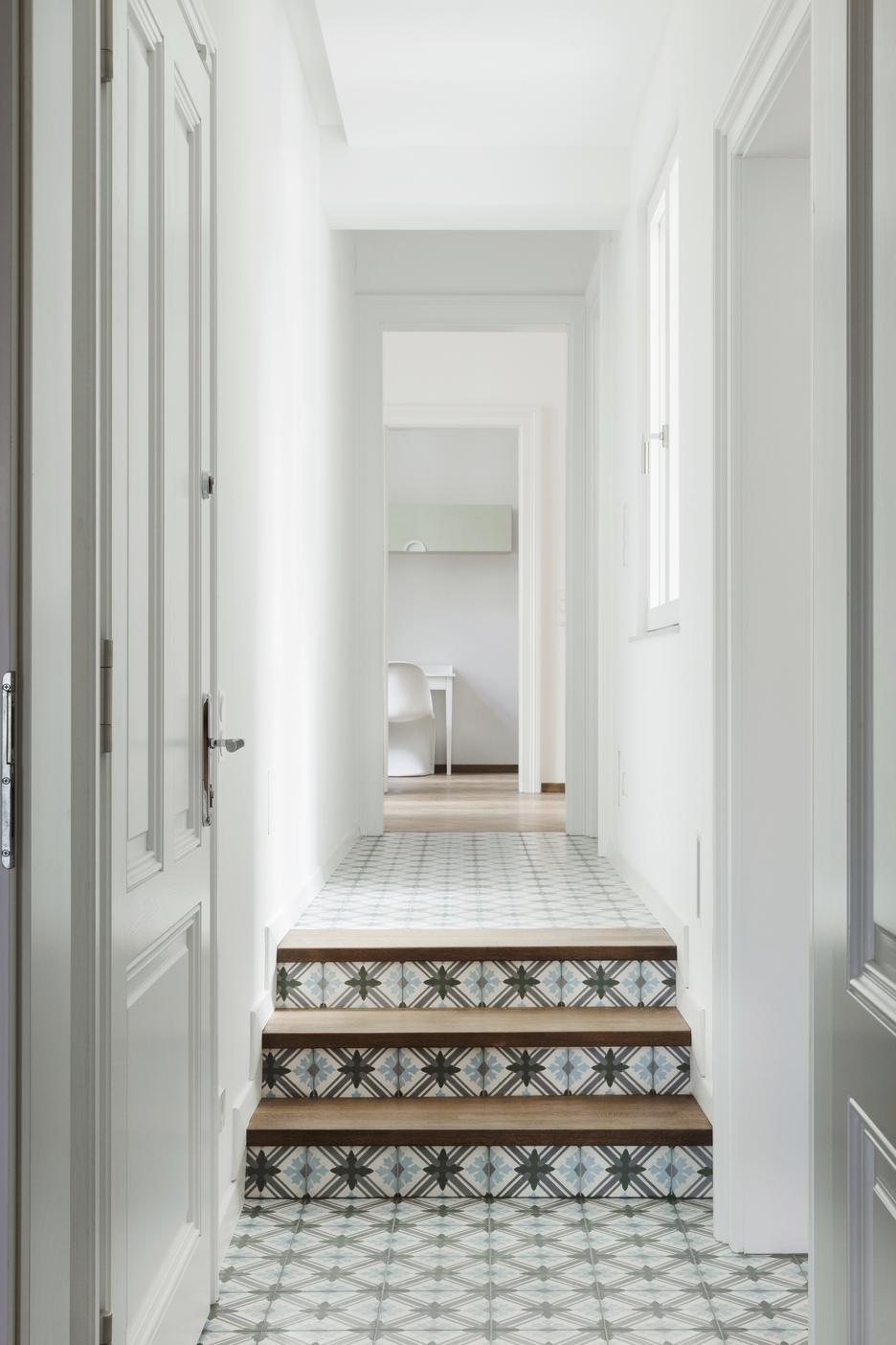 Hallway design Vienna-stairs with concrete tiles and wood-staircase design with concrete tiles Vienna