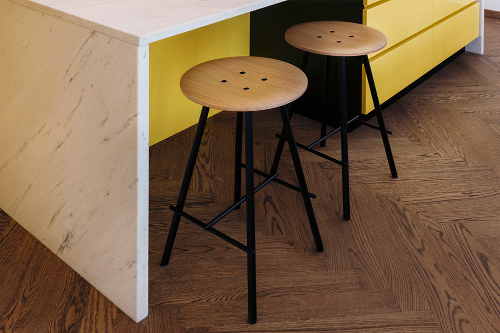 Scandinavian bar stools-oak wood bar stools-kitchen island with white marble-yellow kitchen