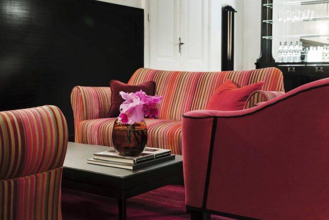Upholstery by Josef Hoffmann-Wittmann-Wiener Jugendstil-Art Nouveau-contemporary Asian interior design Vienna-upholstery furniture in pink bordeaux gold black-Art Noveau design Vienna