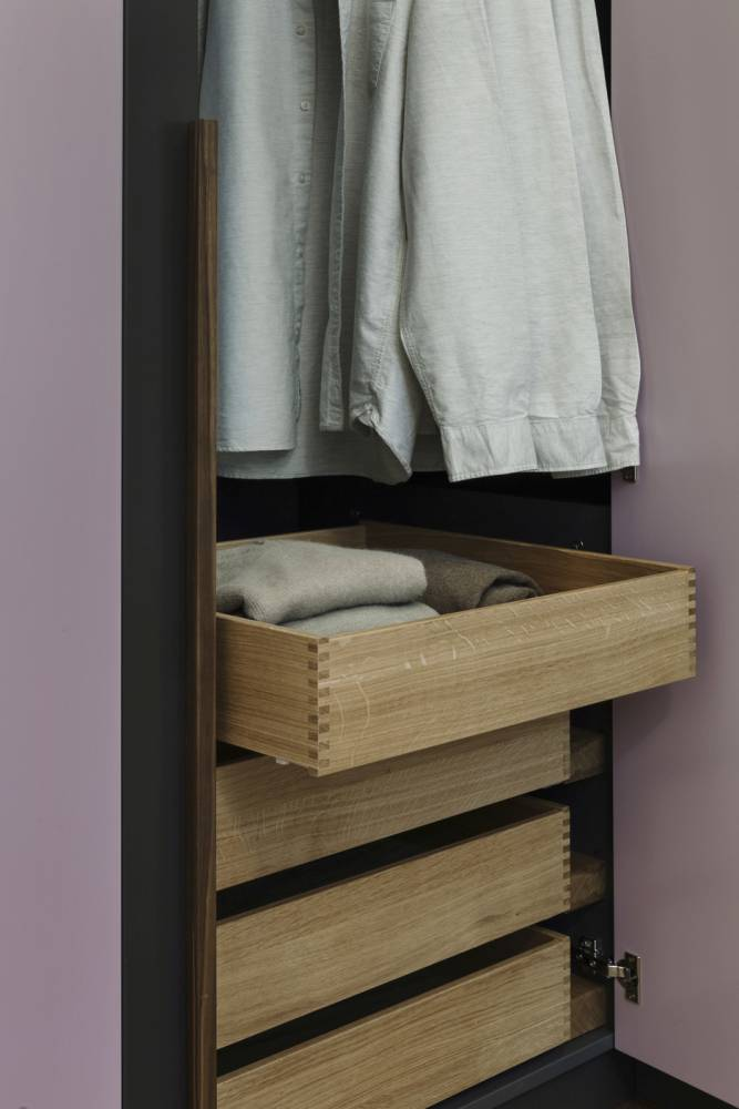 oakwood wardrobe closet drawers-rounded closet nutwood handles-customised bedroom furniture Vienna-wardrobe closet design Vienna