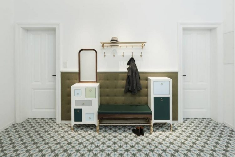 Classic style entrance room-customised furniture in shades of green and blue-hallway furniture nut and brass-concrete tiles from Morocco-entrance area design Vienna