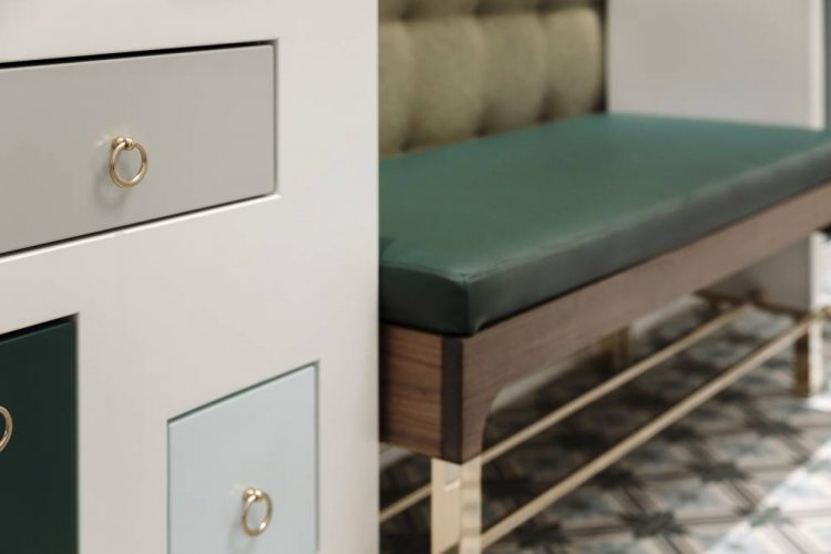 Custom-made bench with leather upholstery and nutwood-brass frame and shoe rack-entrance area design Vienna