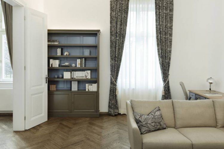 living room in blue and brown-home office in a classic furnishing style-classic style furnishing Vienna