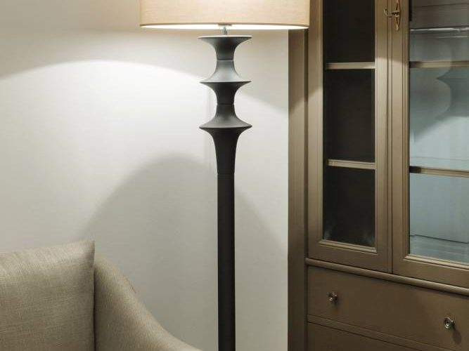 Turned wood floor lamp-classic massive wood furniture-classic modern sofa-classic style interior Vienna